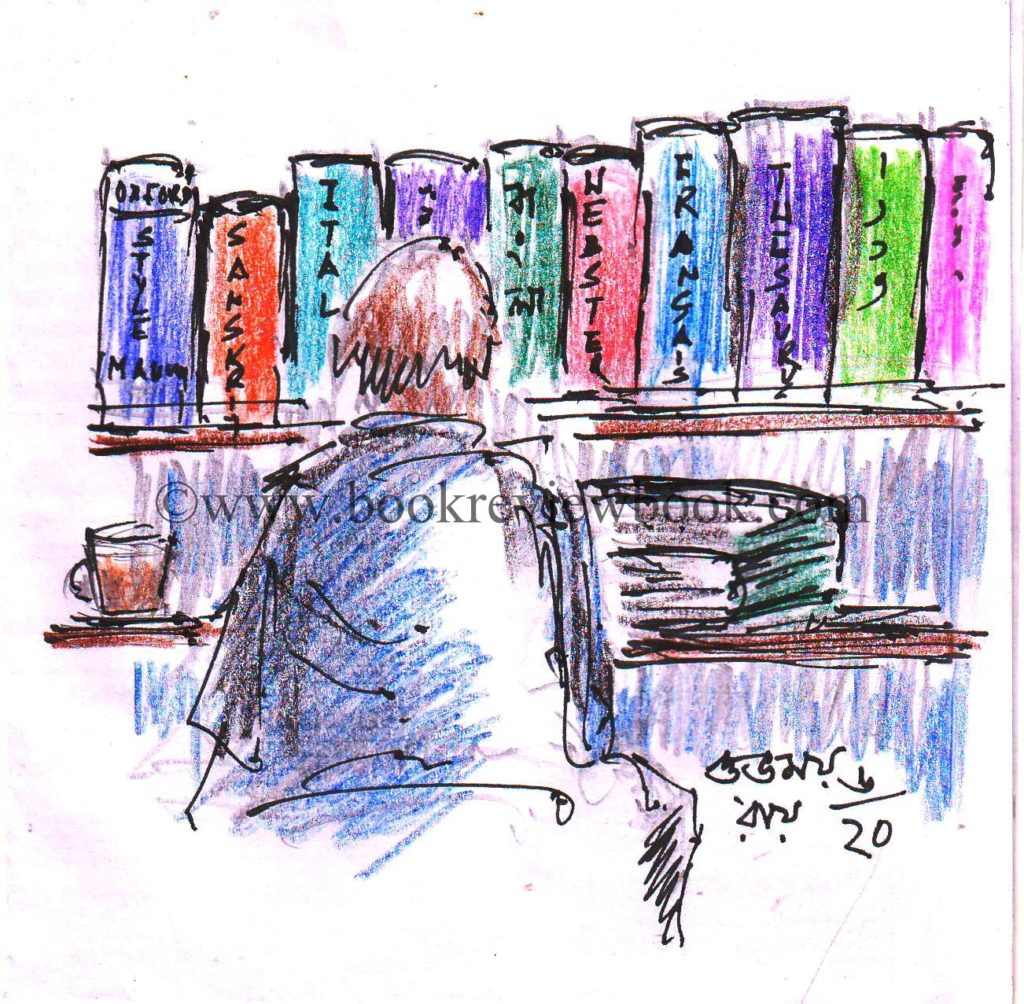 colored pencil sketch of a man in his library