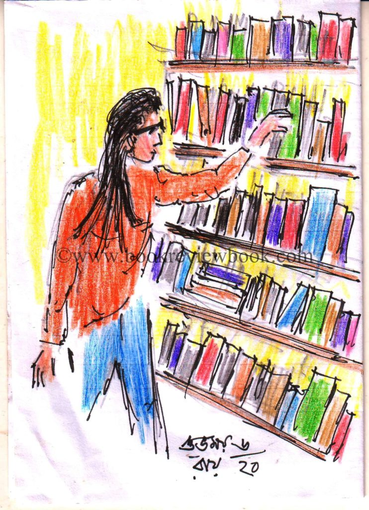 colored pencil sketch of a library user