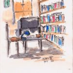line and wash sketch of personal library