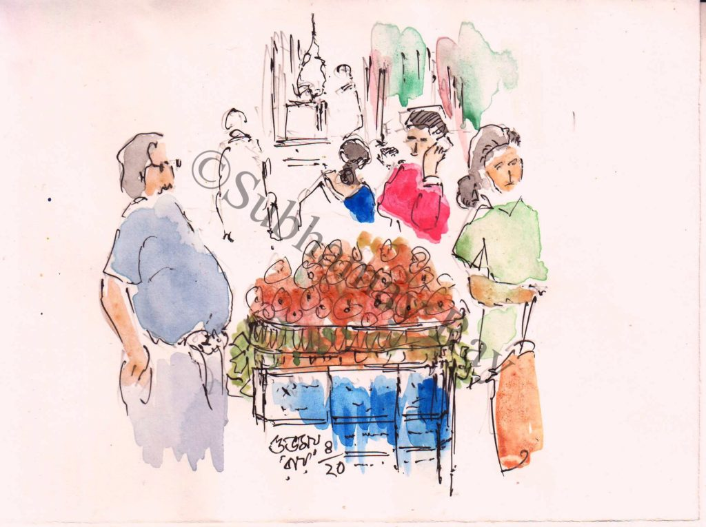 line and wash sketch of a market