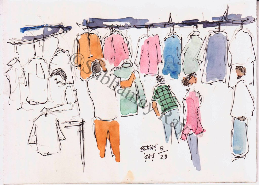 roadside garments shop line and wash sketch