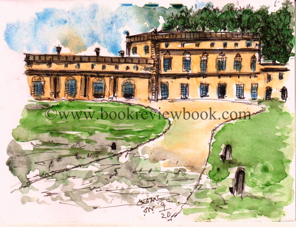 line and wash sketch of a palace